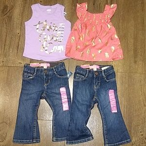 12-18 months old navy outfits boot cut jeans tanks